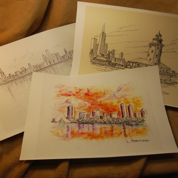 Large Skyline Prints Of Citiscapes In Watercolor And Pen & Inks