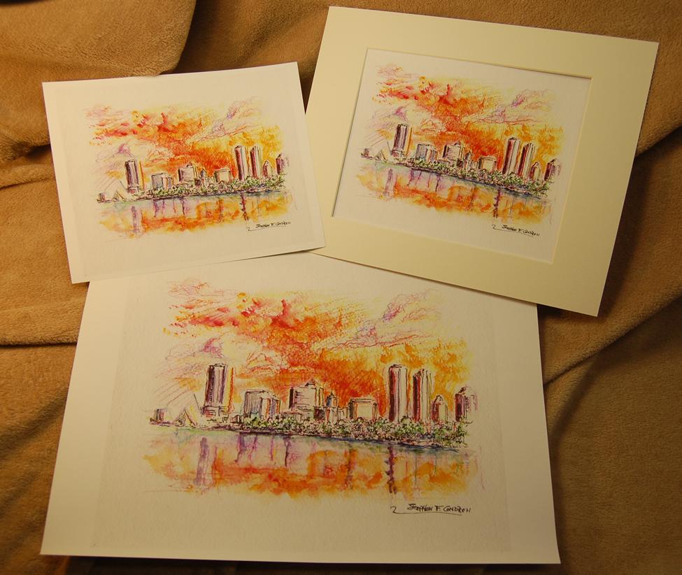 Large skyline prints by artist Stephen F. Condren.