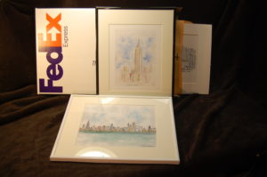 Framed original skyline art