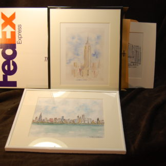 Framed original skyline art by artist Stephen F. Condren.