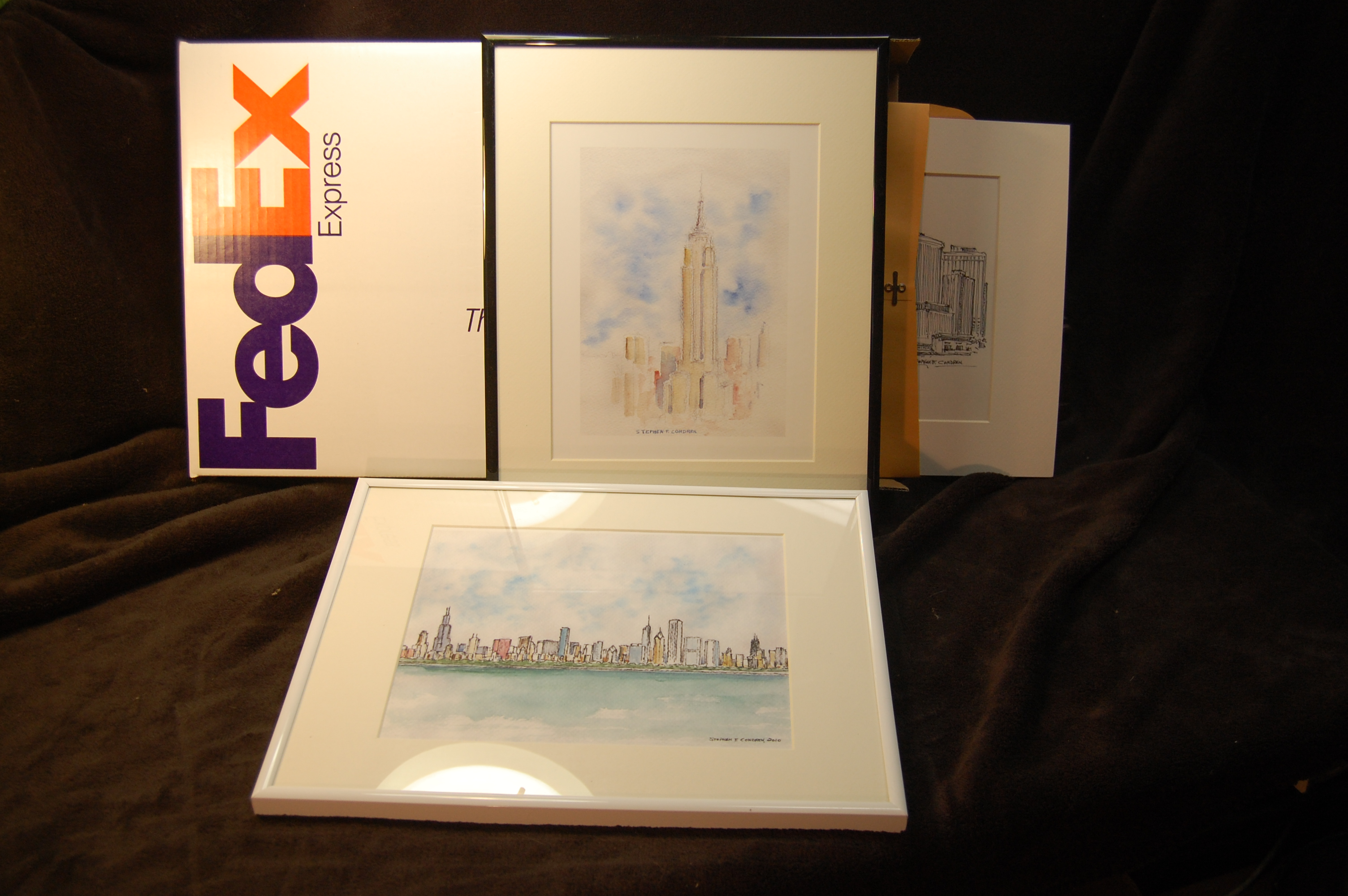 Framed original skyline art by artist Stephen F. Condren.