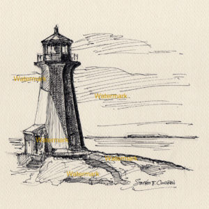 Pen & ink line drawing of Peggy's Cove Lighthouse in shadows at sunset.