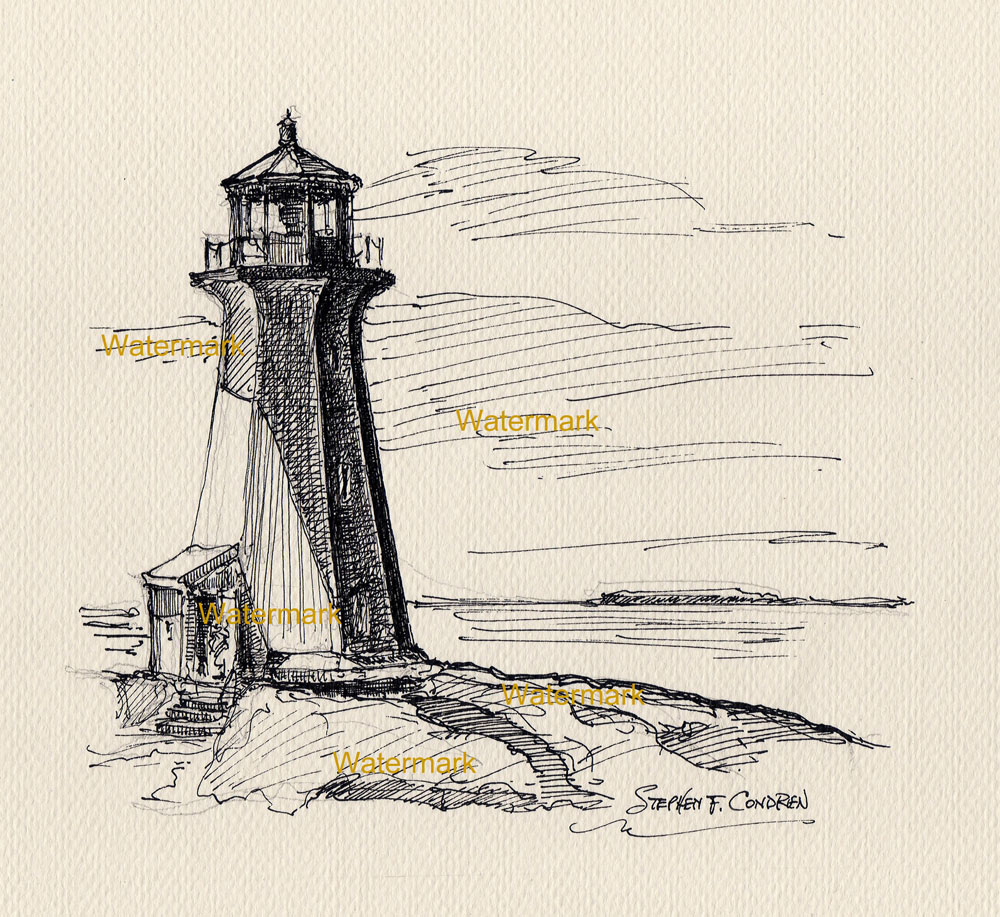 Line Drawing Lighthouse : Pen ink line drawing of peggy s cove lighthouse in