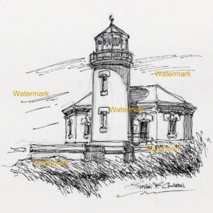 Pen & Ink line drawing of Bandon Lighthouse on the Oregon coast.