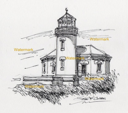 Bandon Lighthouse pen & ink