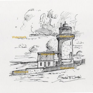 Pen & ink lined drawing of Belle Tout Lighthouse on the ocean coast.