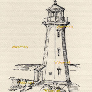 Peggy's Cove Lighthouse pen & ink drawing.