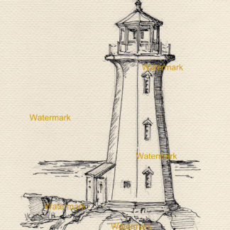 Pen & ink line drawing of Peggy's Cove Lighthouse on the coast.