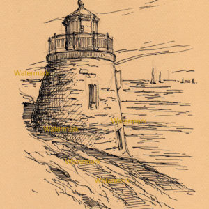 Pen & ink line drawing of the Newport Lighthouse on the oceanfront.
