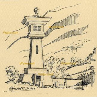 Udo Sake Lighthouse #993A pen & ink landmark drawing in the design of a Japanese lantern.