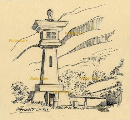 Pen & ink contour line drawing of Udo Sake Kyushu Lighthouse.