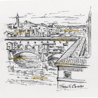 Pen & ink drawing of Pointe Vecchio reflecting in the water.