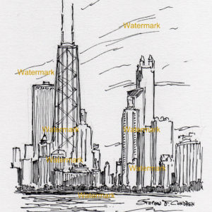Pen & ink drawings and prints of Chicago skyline.