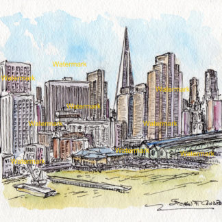 San Francisco skyline watercolor along the bayside wharfs.