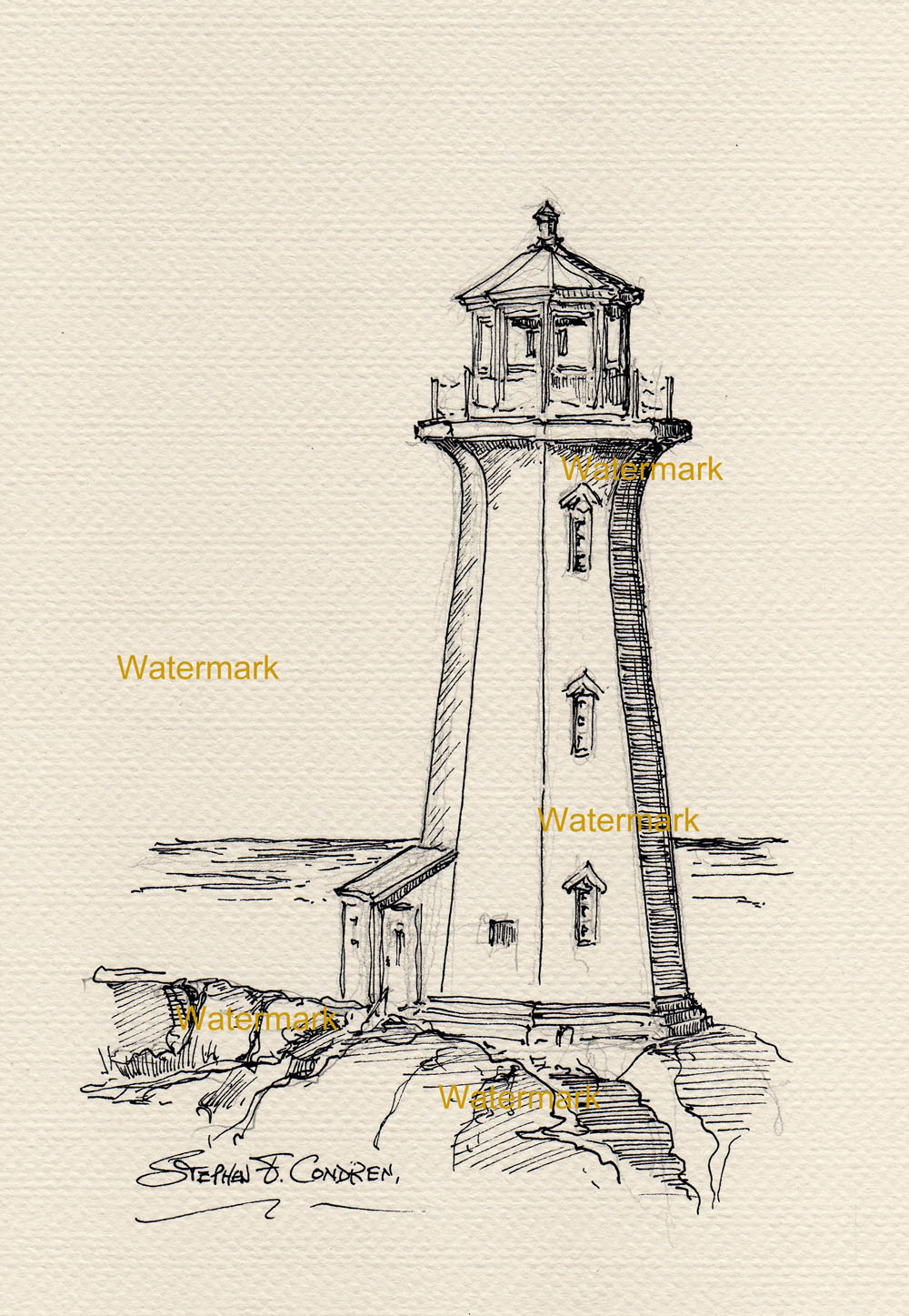 Line Art Lighthouse : Pen ink line drawing of peggy s cove lighthouse on the coast