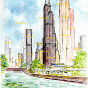 Willis Tower watercolor painting with pen & ink line drawing