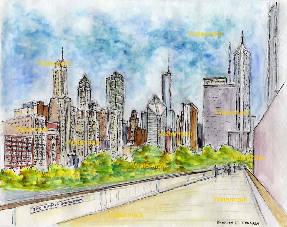 Watercolor painting of Nichols Bridgeway at Millennium Park in Chicago.