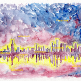 Chicago skyline watercolor painting of Lake Michigan at night.