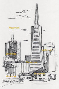 San Francisco skyline pen & ink drawing of Transamerica Pyramid.