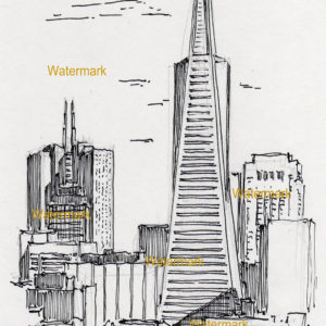 Pen & ink drawings and prints of San Francisco skyline and Transamerica Pyramid.
