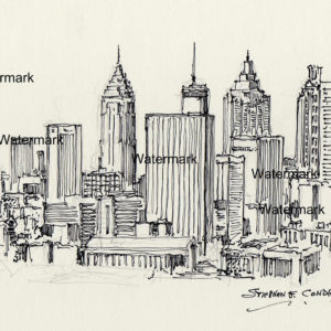 Pen & ink drawings and prints of Atlanta skyline.