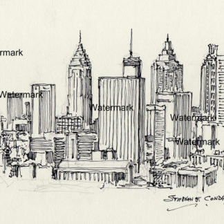 Atlanta skyline #823A pen & ink cityscape drawing with a view of downtown.