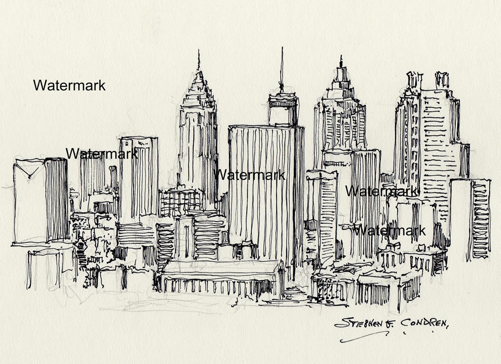 Atlanta skyline pen & ink drawing of skyscrapers in downtown.