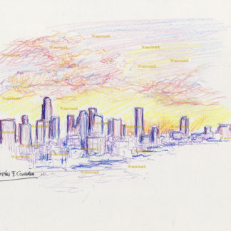 Los Angeles skyline #2744A pen & ink with color pencil, cityscape drawing of downtown at sunset