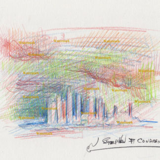 Los Angeles skyline #2750A color pencil, cityscape drawing of downtown at sunset in a thunderstorm.