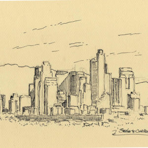 Pen & ink drawings and prints of Los Angeles skyline.