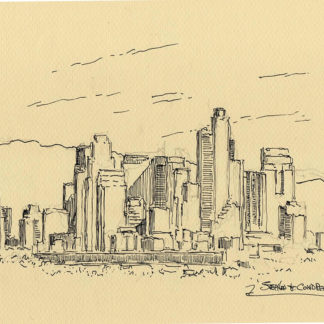 Los Angeles skyline pen & ink drawing of downtown skyscrapers.