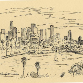 Los Angeles skyline pen & ink drawing of downtown from Echo Park Lake.