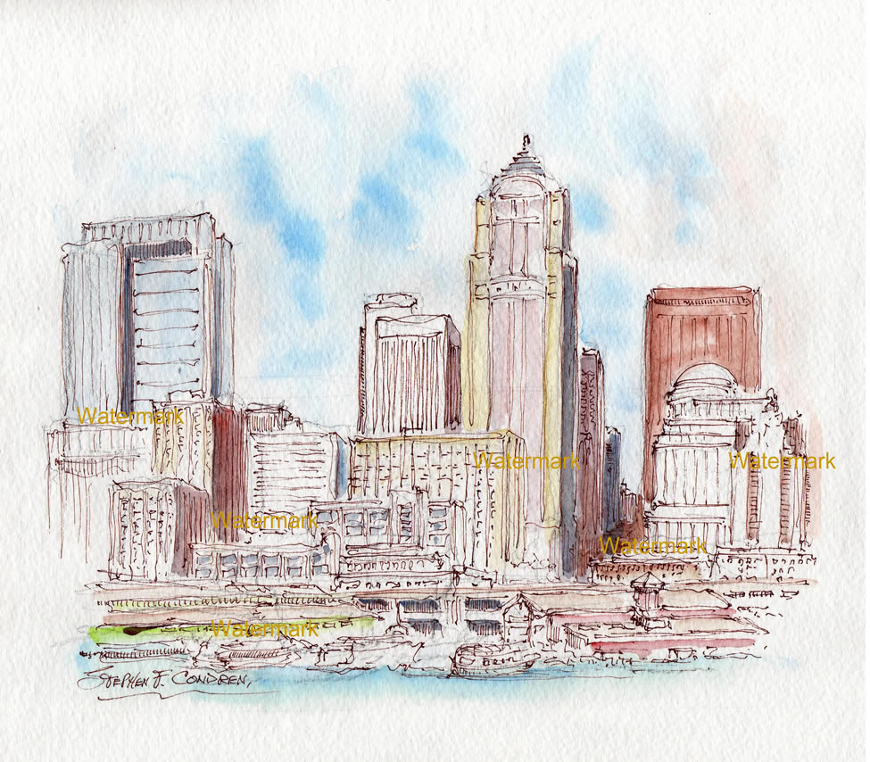Seattle Skyline Watercolor Painting For Sale ~ 880