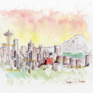 Seattle Skyline Watercolor Painting At Sunset For Sale ~ 881