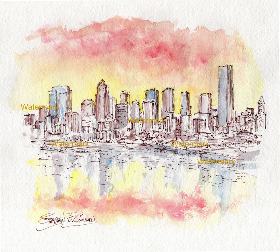 Seattle Skyline Watercolor Painting At Sunset From Elliott Bay For Sale ~ 882