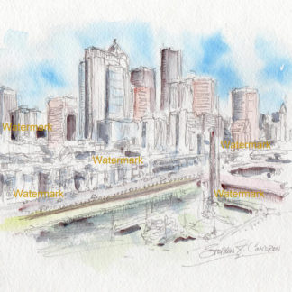 Seattle Skyline Watercolors