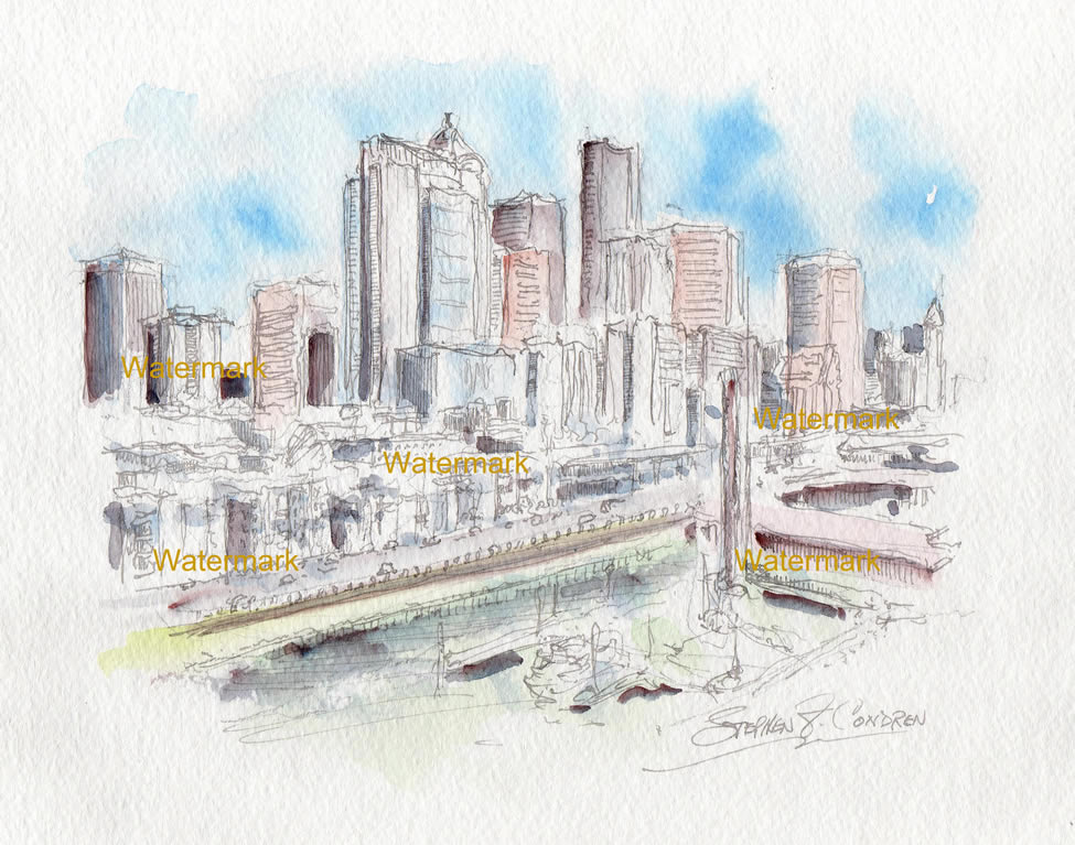 Seattle Skyline Watercolor Painting For Sale ~ 883