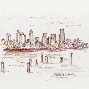 Red pen & ink drawings and prints of Seattle skyline from Elliott Bay.