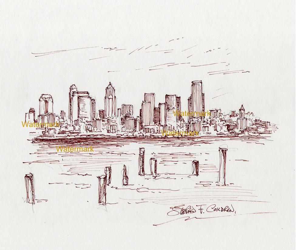 Seattle skyline pen & ink drawing of downtown on Elliott Bay.