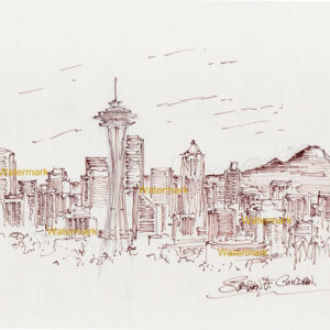 Red pen & ink drawings and prints of Seattle skyline with Mt. Rainier and the Space Needle.