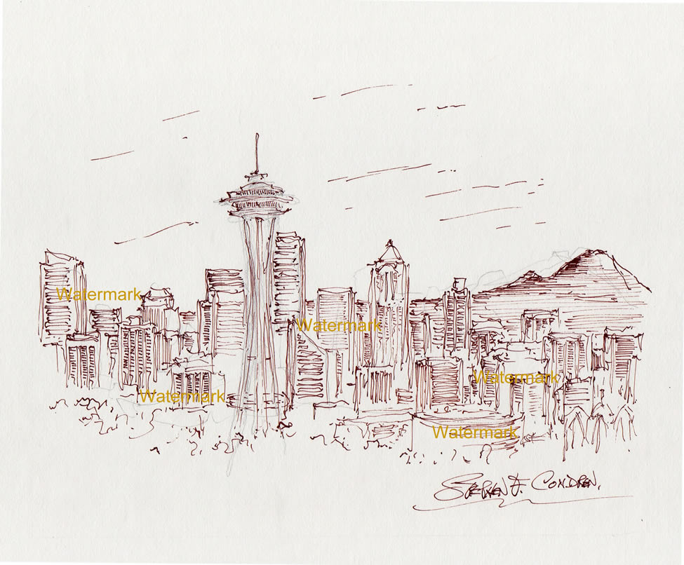 Seattle skyline pen & ink drawing of downtown with the Space Needle.