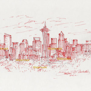 Red pen & ink drawing of Seattle skyline with Mt. Rainier and the Space Needle.