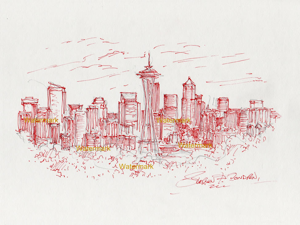 Seattle skyline pen & ink drawing with Space Needle and skyscrapers.