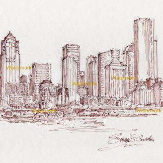 Seattle skyline pen & ink line drawing of downtown on Elliott Bay.