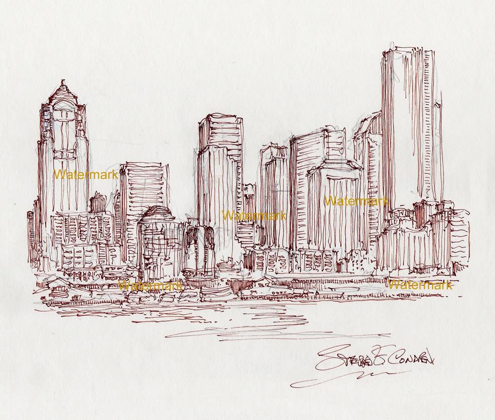 Seattle skyline pen & ink line drawing of downtown on Elliott Bay.