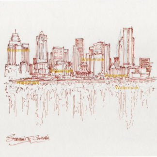 Seattle skyline pen & ink line drawing reflecting in Elliott Bay.