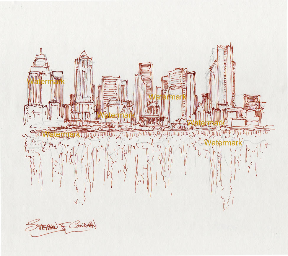 Seattle skyline pen & ink line drawing reflecting in Elliott Bay.