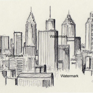Pencil drawing of the Atlanta skyline.