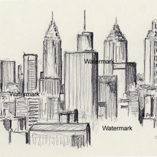 Atlanta skyline #819A pencil cityscape drawing is popular because of it's view of downtown.