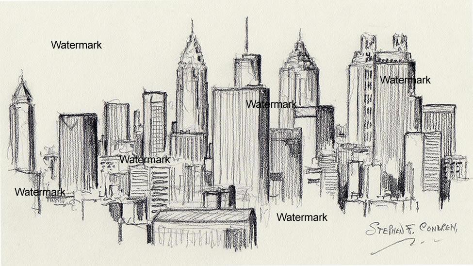 Atlanta skyline drawing of downtown skyscrapers